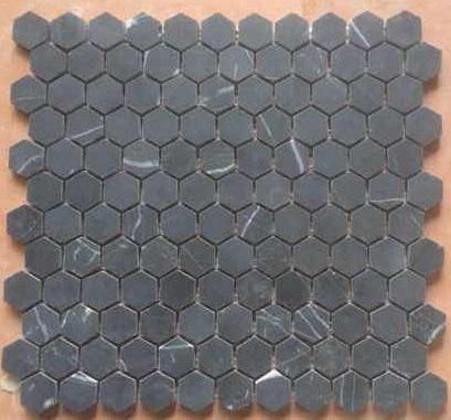 Hexagon Mosaic 25mm Pure Black Nero Marquina Honed